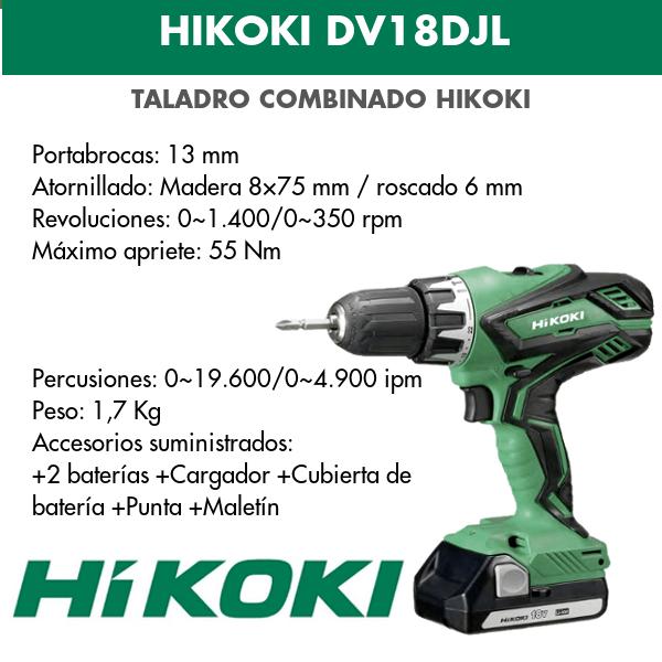 Taladro combinado batería Hikoki DV18DJL 18v