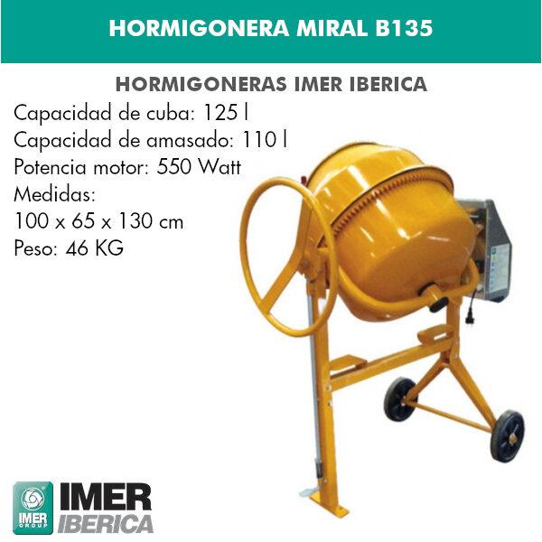 HORMIGONERA MIRAL B135 MONOFÁSICA