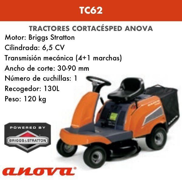 Tractor cortacésped Anova TC62