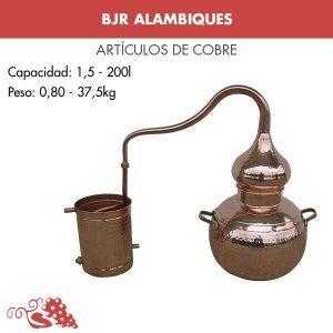 Alambique de cobre para destilación