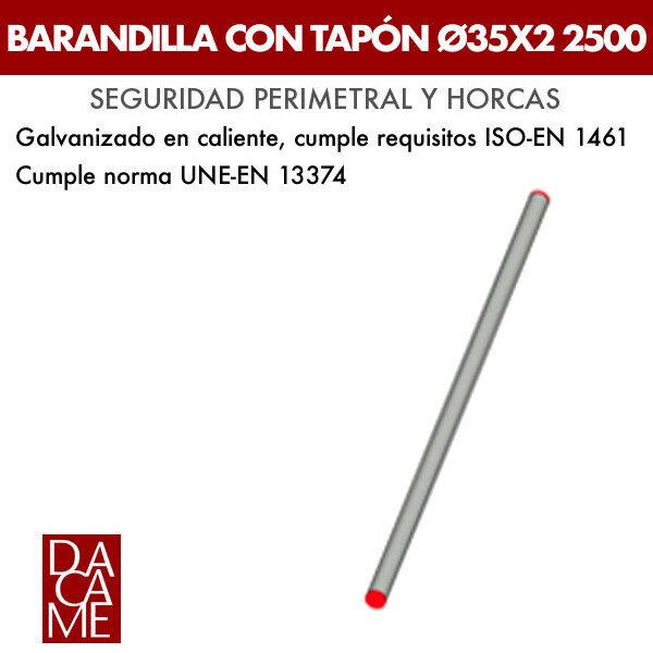 Barandilla con tapón Dacame Ø35x2 2500