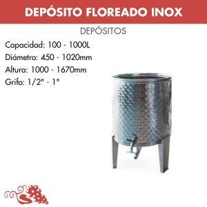 Depósito para vino floreados inox 304 con fondo cónico y patas