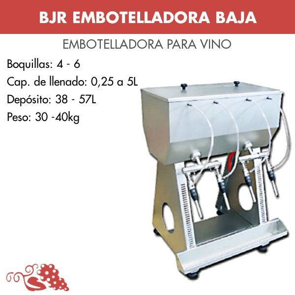 Embotelladora para vino baja inox por gravedad sin filtro y sin bomba