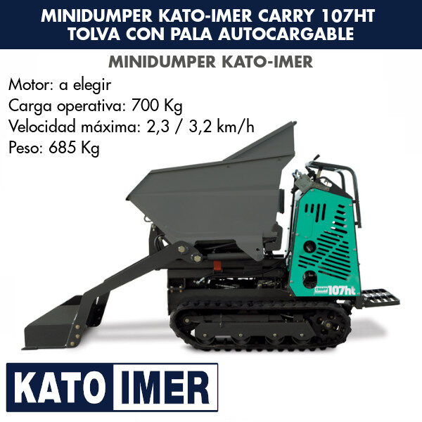 Minidumper Kato-Imer CARRY 107ht Tolva con pala autocargable