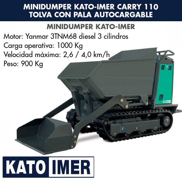 Minidumper Kato-Imer CARRY 110 Tolva con pala autocargable