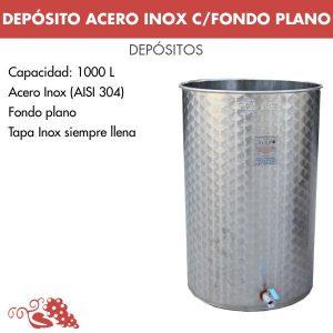 Depósito 1000 litros en acero inoxidable (AISI 304) fondo plano. Con tapa inox siempre llena y válvula inferior inox