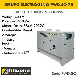 Generador eléctrico filippini PWD.SQ 75