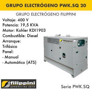 Generador eléctrico filippini PWK.SQ 20