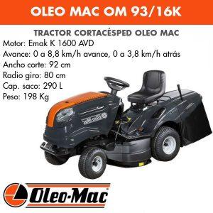 Tractor Cortacésped Oleo Mac OM 93/16K