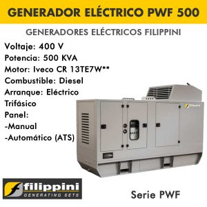 Generador eléctrico Filippini PWF500 400 KVA Trifásico