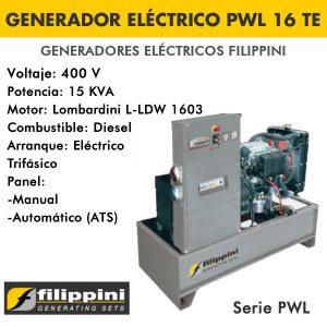 Generador eléctrico Filippini PWL 16 TE 15 KVA Trifásico