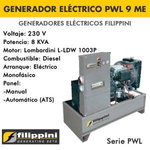 Generador eléctrico Filippini PWL 9 ME 8 KVA Monofásico