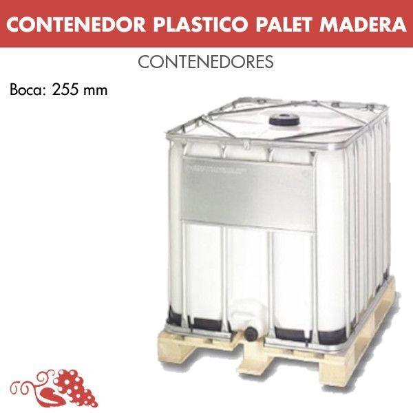 CONTENEDOR PLASTICO 1000 LITROS PALET MADERA BOCA 225 mm