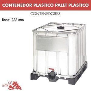 Depósitos plásticos apilables, montados sobre palet de polietileno ó madera. Para el almacenaje de productos alimenticios, pinturas, cremas...