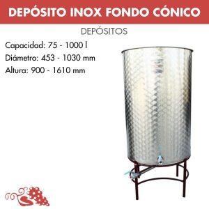 Depósito 1000 litros en acero inoxidable (AISI 304) fondo cónico con tripode inferior pintado.