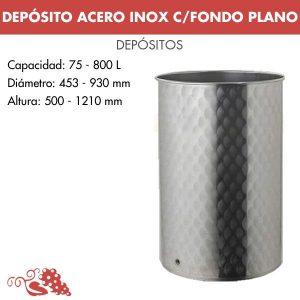 Depósito en acero inoxidable (AISI 304) fondo plano.