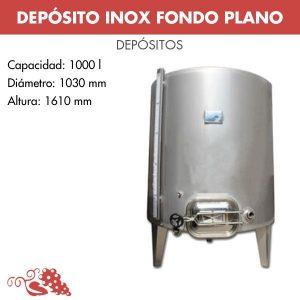 Depósito 1000 L acero inox 304 con boca superior y fondo cónico