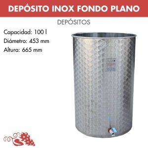 Depósito 100 litros en acero inoxidable (AISI 304) fondo plano. Con tapa inox siempre llena y válvula inferior inox