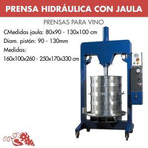 PRENSA HIDRAULICA CON JAULA Y PLATO INOX 80 x 90