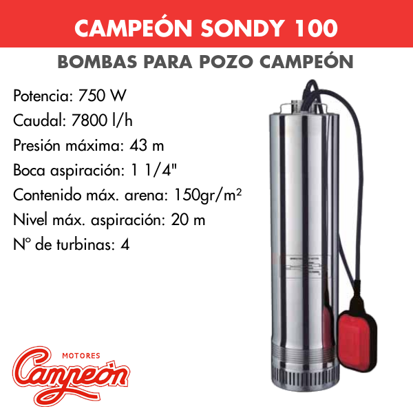 Bomba de pozo Campeon Sondy 200