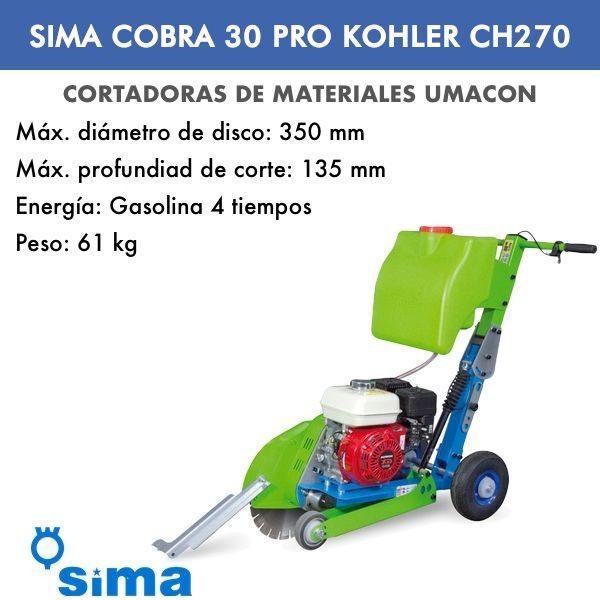 Cortadora de asfalto Sima Cobra 30 PRO Kohler CH270