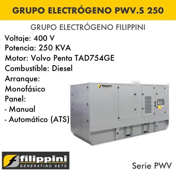 Generador eléctrico filippini PWV.S 250