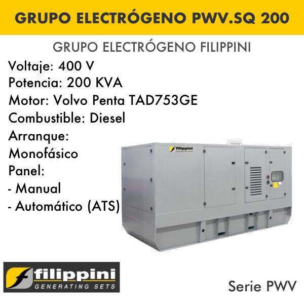 Generador eléctrico filippini PWV.SQ 200