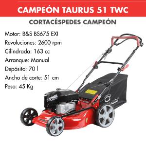 Cortacesped Campeon TAURUS 51 TWC 163 CC