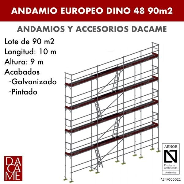 Gerüste Europäischen Dacame Dino 48 90 m2
