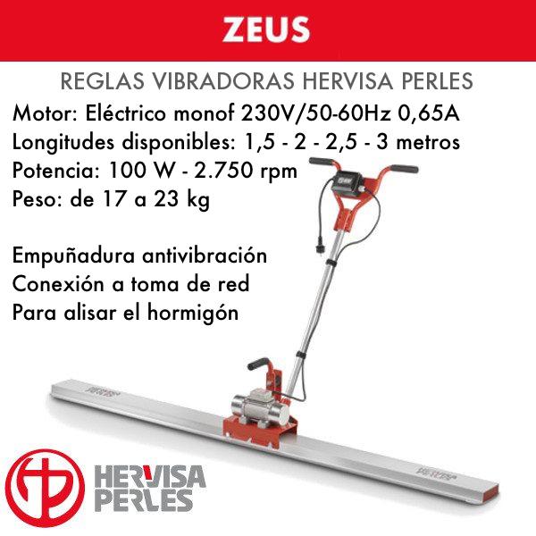 Regla Vibradora de Hormigón Hervisa Perles Zeus 1,5 - 2 - 2,5 - 3 metros