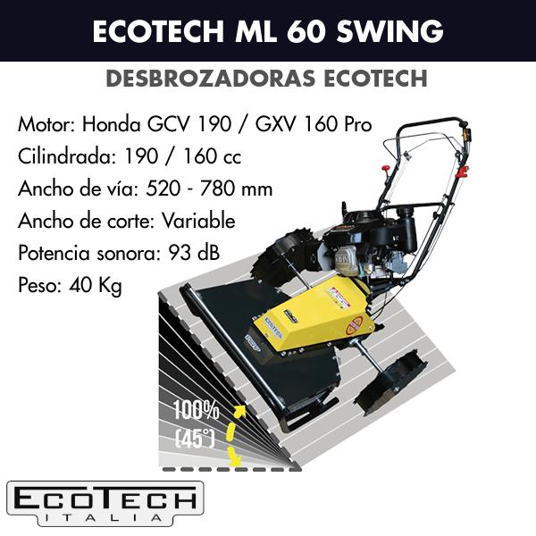 Detalles técnicos de la Desbrozadora de ruedas Ecotech ML 60