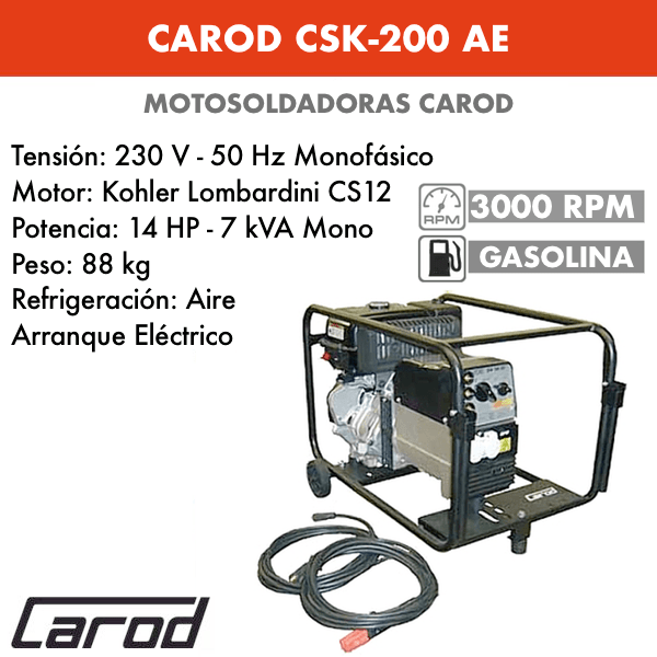 Tronçonneuse Carod CSK-200 avec moteur Essence Kohler Lombardini CS12