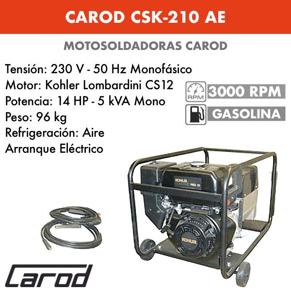 Scie à chaîne Carod CSK-210 AE avec moteur Kohler Lombardini CS12 avec démarreur électrique à essence