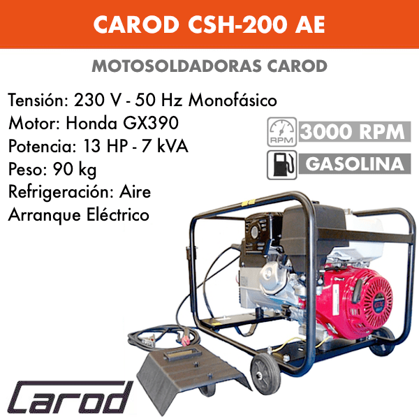 Scie à chaîne Carod CSH-200 AE avec moteur Honda GX390 avec démarreur électrique à essence