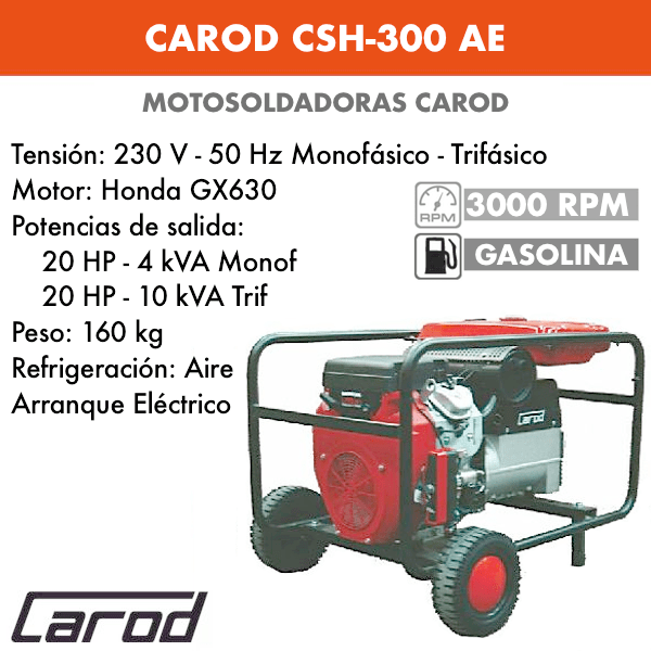 Scie à chaîne Carod CSH-300 AE avec moteur Honda GX630 avec démarreur électrique à essence