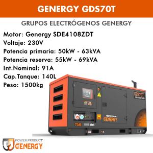 Grupo electrógeno Genergy GDS70T 63 KVA