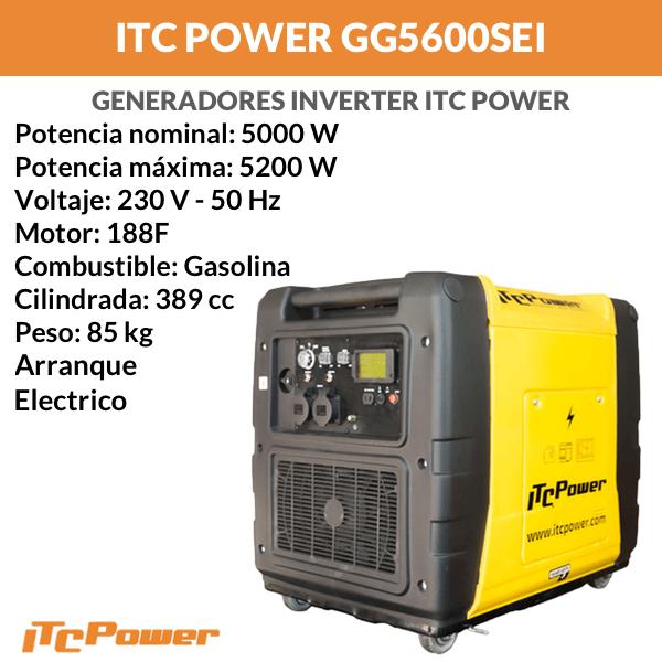 Generador Eléctrico Inverter ITC Power GG5600SEI de Gasolina 5000 W