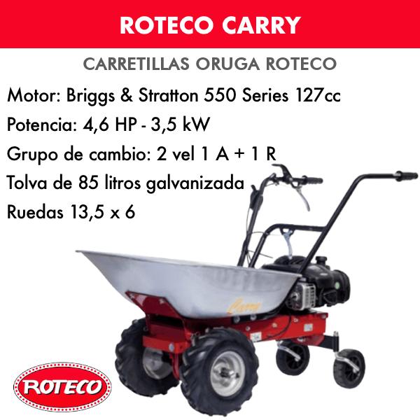Carretilla Oruga (Mini-Transporter) Roteco CARRY con Motor B&S 550 series 4,6 HP