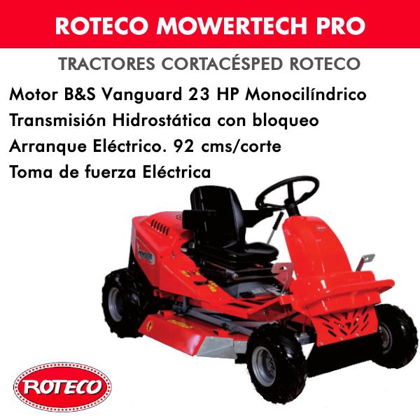 Tractor cortacésped Roteco Mowertech Pro - Motor B&S Vanguard 23HP Monocilíndrico