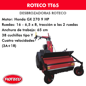Desbrozadora Roteco TT65 motor Honda GX 270