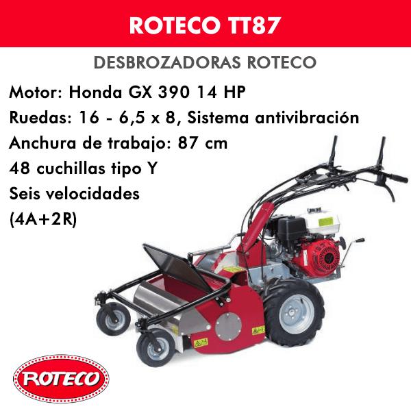 Desbrozadora Roteco TT87 motor Honda GX 390