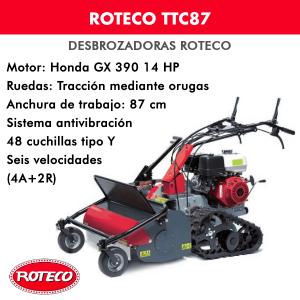Desbrozadora Roteco TTC87 motor Honda GX 390
