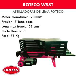 Astilladora leña Roteco WS8T Motor monofásico 2300W