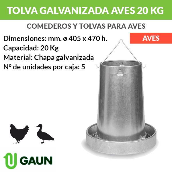 Tolva galvanizada aves 20 kg