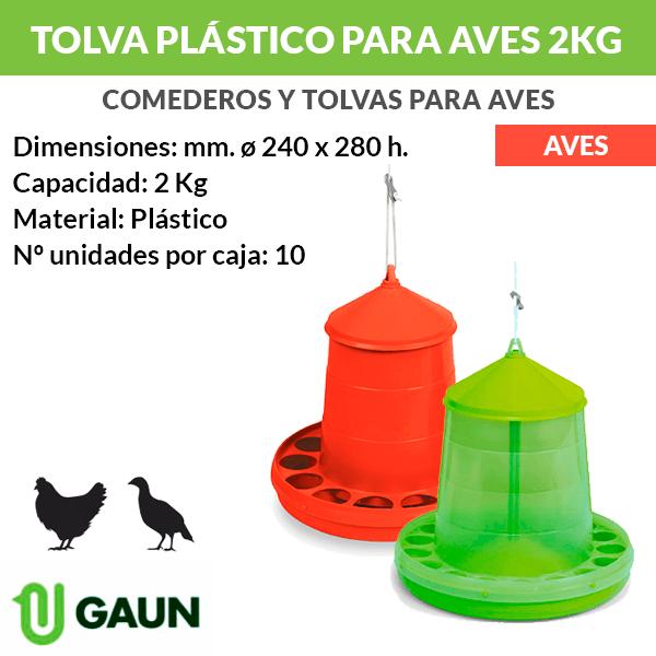 Tolva de plástico para aves 2 kg
