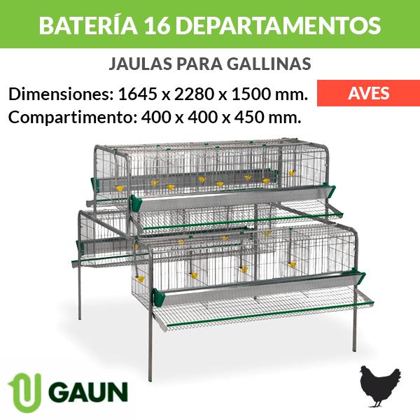 Batería para gallinas 16 departamentos