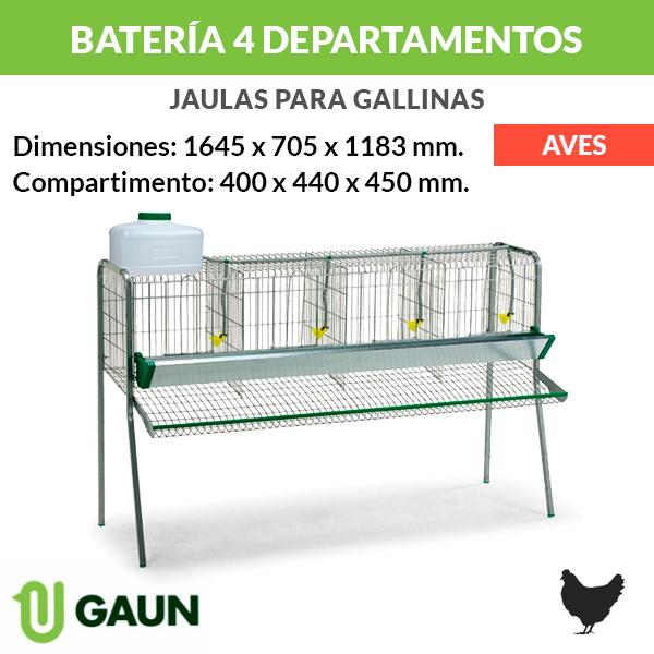 Batería para gallinas 4 departamentos