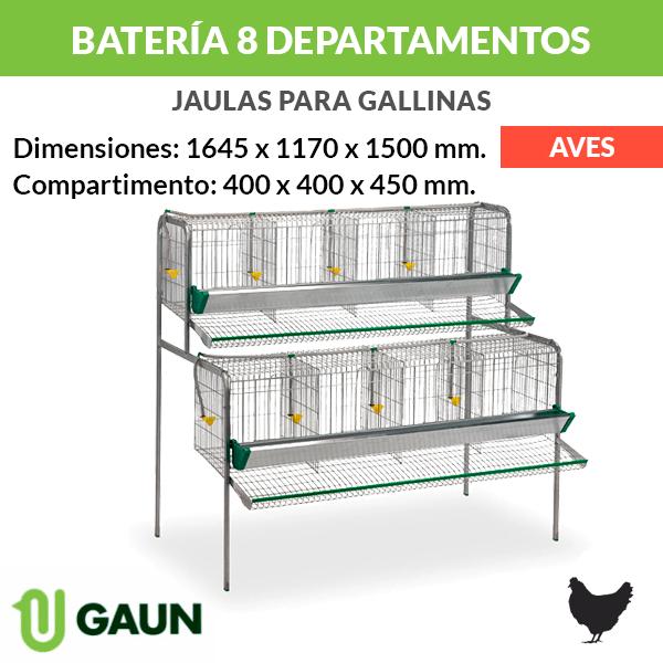 Batería para gallinas 8 departamentos
