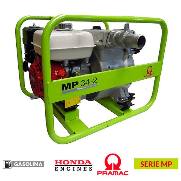 Motobomba PRAMAC MP 34-2 de 163 cc, 700 l/min, altura máxima: 30 metros.