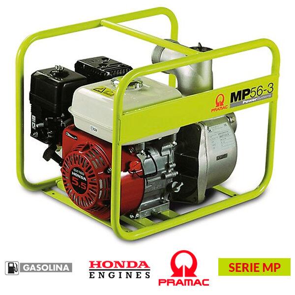 Motobomba PRAMAC MP 56-3 de 163 cc, 930 l/min, altura máxima: 26 metros.